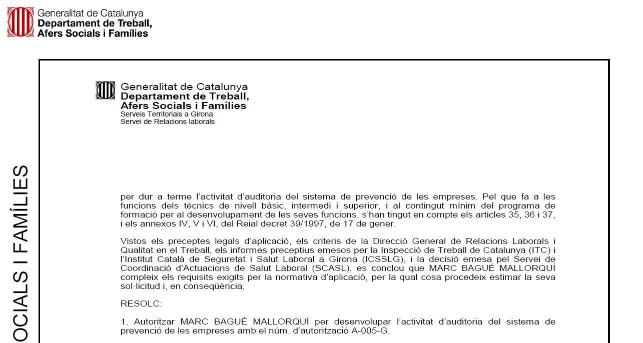 Resolució Entitat Auditoria A-005-G